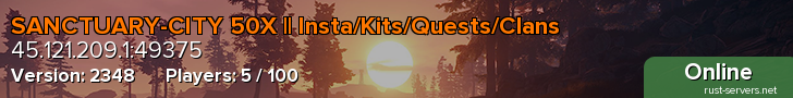 AUS/NZ SANCTUARY CITY 50X | WIPED-/- | Insta/Kits/Quests/Clans
